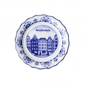 Typisch Hollands Scalloped coaster with canal houses