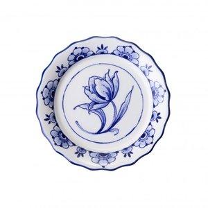 Typisch Hollands Geschulpte onderzetter met tulp  - Delfts blauw - porselein