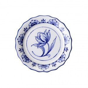 Typisch Hollands Scalloped coaster with Delft blue - porcelain