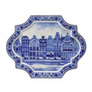 Heinen Delftware Applique grachtenpanden horizontaal