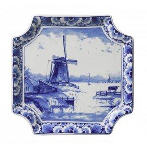 Typisch Hollands Wandbord Delfts blauw - Applique molen vierkant