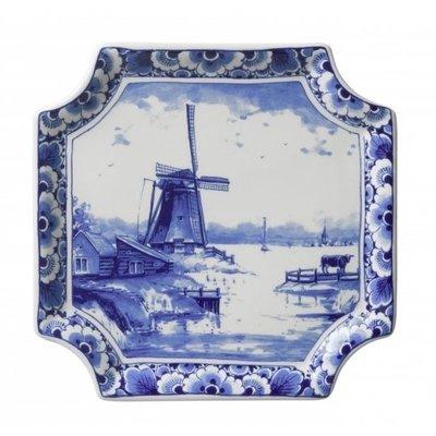 Typisch Hollands Teller Delfter Blau - Applique Windmühlenquadrat