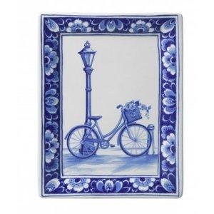 Heinen Delftware Applique fiets rechthoek
