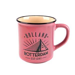 Typisch Hollands Mok - Rotterdam - Campusmok Roze in giftbox