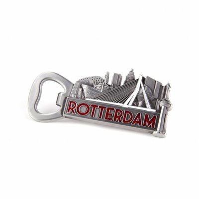 Typisch Hollands Opener magnet Rotterdam tin color