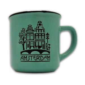 Typisch Hollands Kleine mok in geschenkdoos - Amsterdam - Groen