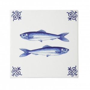 Typisch Hollands Delft blue tile with fish