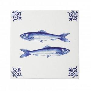Typisch Hollands Delfts blauwe tegel  met vissen