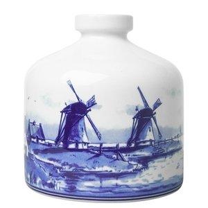 Heinen Delftware Vaas rond molenlandschap.
