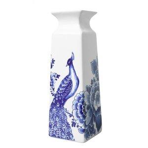 Delfts blauwe Vaas vierkant bloem en pauw groot