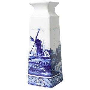 Heinen Delftware Delfts blauwe Vaas vierkant molenlandschap groot