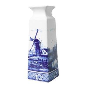 Heinen Delftware Delfts blauwe Vaas vierkant molenlandschap klein