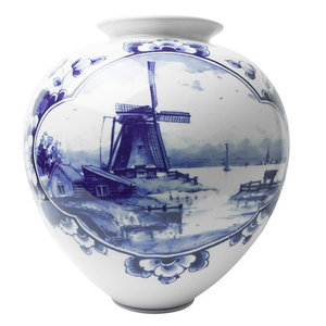 Heinen Delftware Bulb vase large with mill landscape