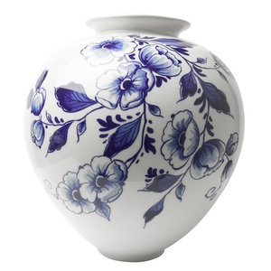 Bulb vase large with elegant flower decoration