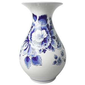 Delft blue belly vase - Ornate flower decor