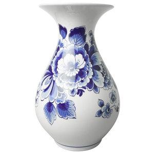 Heinen Delftware Delft blue belly vase - Ornate flower decor