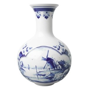 Belly vase Delft blue windmill landscape 19cm