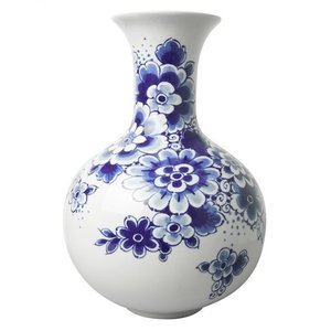Belly vase Delft blue floral decoration 19cm