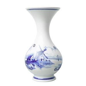 Heinen Delftware Tuitvaasje met Molenlandschap 16 cm