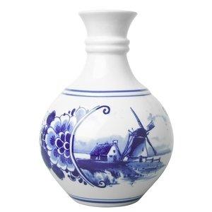 Heinen Delftware Delfts blauw bolvaasje landschap klein 14 cm