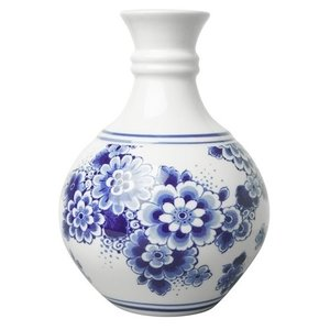 Delft blue ball vase flower painting small 14 cm