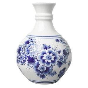 Heinen Delftware Delfts blauw bolvaasje bloemschildering  klein 14 cm