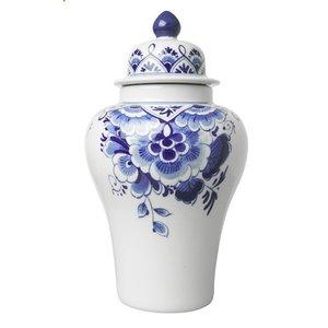 Heinen Delftware Delfts blauwe Deksel-Pul (vaas met deksel)