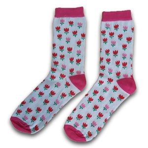 Holland sokken Damessokken  tulpen roze /rood maat 35-41