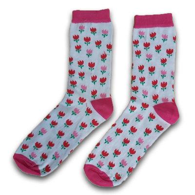 Holland sokken Damensocken Tulpen pink / rot Größe 35-41