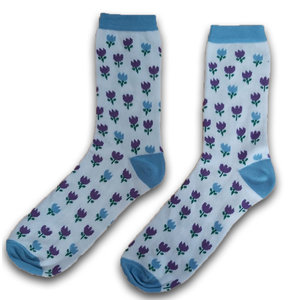 Holland sokken Ladies socks tulips blue / violet size 35-41