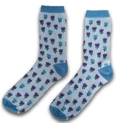 Holland sokken Damensocken Tulpen blau / violett Größe 35-41