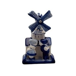 Typisch Hollands Delft blue windmill with Kuspaar-10cm
