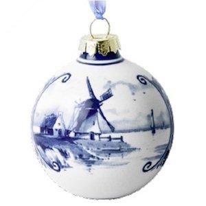 Heinen Delftware Delfts blauw gedecoreerde kerstbal Molens
