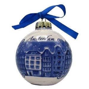 Heinen Delftware Delfts blauw gedecoreerde kerstbal Amsterdam
