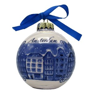 Typisch Hollands Delft blue decorated Christmas bauble Amsterdam
