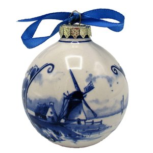 Typisch Hollands Delft blue decorated Christmas ball Mills