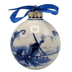 Typisch Hollands Delfts blauw gedecoreerde kerstbal Molens