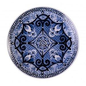 Heinen Delftware Wandbord Bloemen donker -Symmetrisch