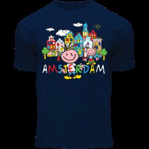 Holland fashion Kids T-Shirt - Happy in Amsterdam - Blue