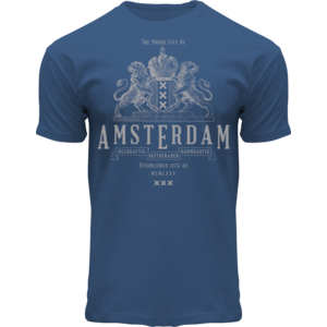 Holland fashion T-Shirt Blauw- wapen -Amsterdam