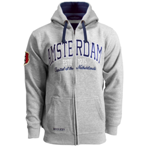 Holland fashion Hoodie met Rits - Amsterdam - Capital - Grijs