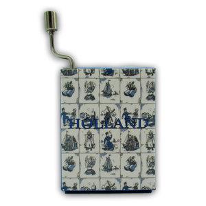 "Typisch Hollands Muziekdoosje - Delfts blauw - ""Au Claire De La Lune"""