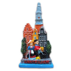 Typisch Hollands Magnet Amsterdam - zusammen auf dem Fahrrad.