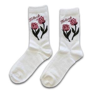 Holland sokken Damensocken - Weiß - Holland - Tulpen