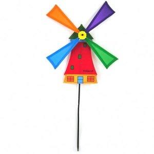 Typisch Hollands Windmolentje op stokje - Rood