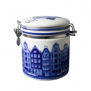 Typisch Hollands Delft blue preservation jar - Facade houses