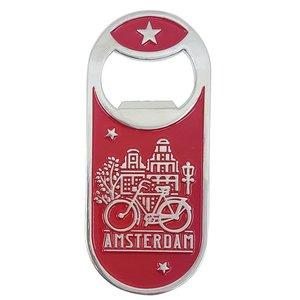 Typisch Hollands Magnetische opener - Dutch Classics - Amsterdam Rood - Fiets