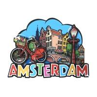 Typisch Hollands Magneet comic Amsterdam fiets