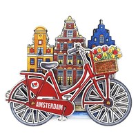 Typisch Hollands Magnet Amsterdam houses bicycle red with rotating wheels