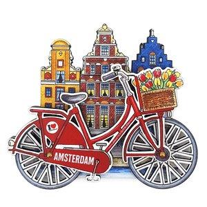 Typisch Hollands Magneet Amsterdam huisjes fiets rood met draaiende wielen